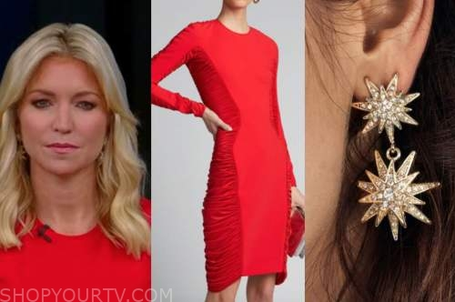 ainsley earhardt, fox and friends, red ruched dress, gold star earrings