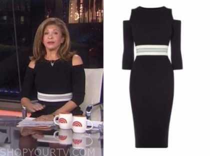 hoda kotb, the today show, black cold-shoulder dress