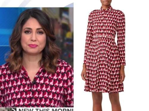 cecilia vega, good morning america, red and pink printed shirt dress