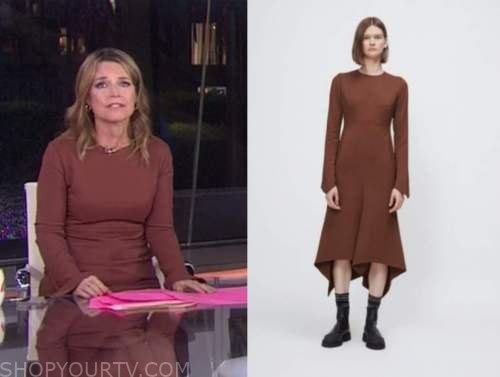 savannah guthrie, the today show, brown bell sleeve dress