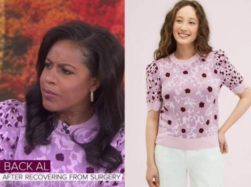 sheinelle jones, the today show, pink floral short sleeve sweater