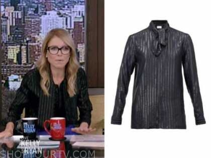 kelly ripa, live with kelly and ryan, metallic stripe tie neck blouse