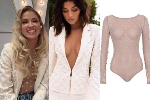 kaitlyn bristowe, live with kelly and ryan, good morning america, white embellished blazer, embellished bodysuit