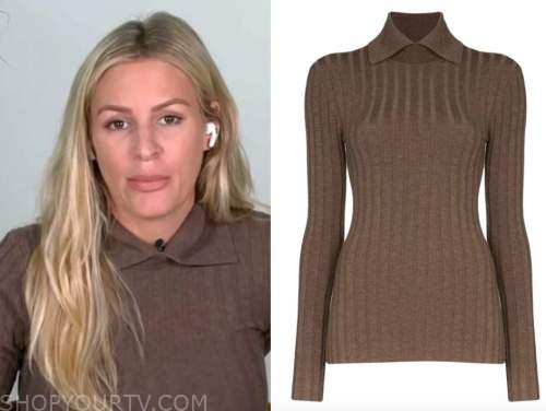 morgan stewart, brown ribbed collar sweater, E! news, daily pop