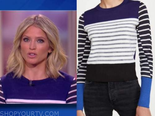 sara haines, blue and white striped sweater, the view