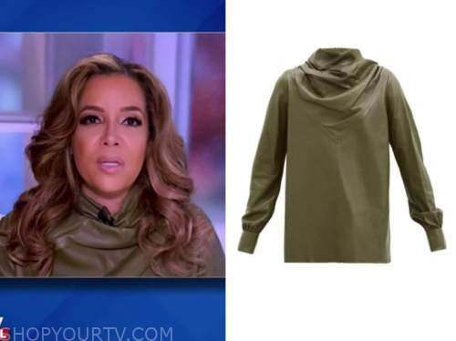 sunny hostin, green leather drape top, the view