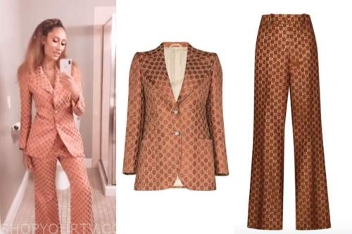 elaine welteroth, orange monogram blazer and pant suit, the talk