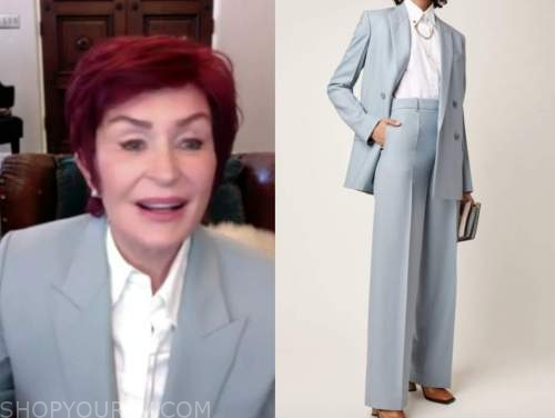sharon osbourne, the talk, blue grey blazer and pant suit