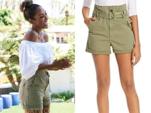 tayshia adams, the bachelorette, green belted shorts