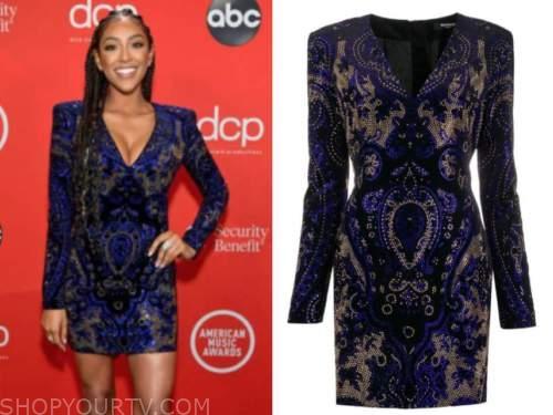 tayshia adams, the american music awards, embellished rhinestone dress
