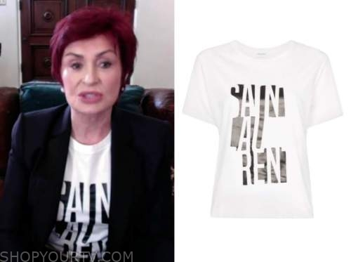 sharon osbourne, the talk, white and black logo graphic tee