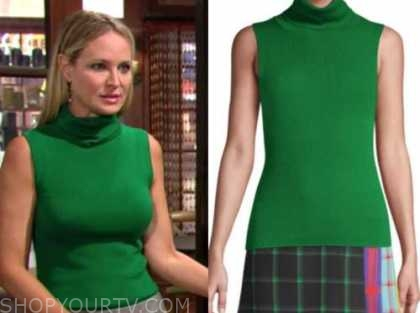 sharon newman, sharon case, the young and the restless, green turtleneck sleeveless top