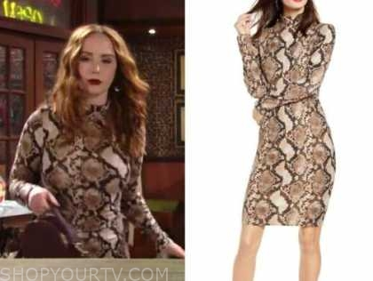 mariah copeland, carmyn grimes, the young and the restless, snakeskin turtleneck dress
