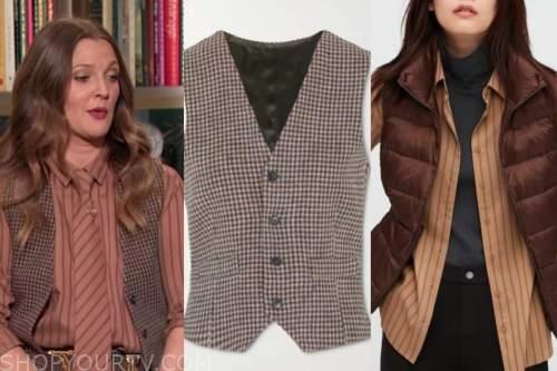 drew barrymore, drew barrymore show, vest, striped shirt