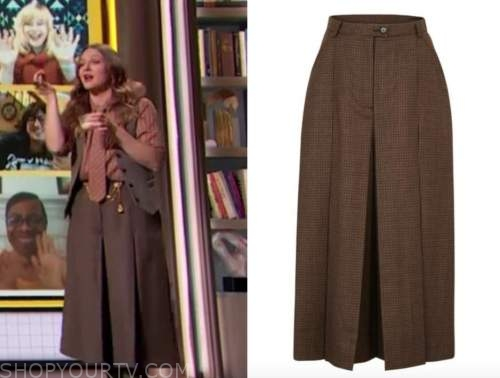 drew barrymore, drew barrymore show, brown wool houndstooth culottes