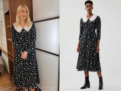 holly willoughby, this morning, black and white floral collar midi dress