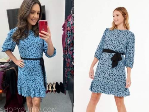 laura tobin, good morning britain, blue floral dress