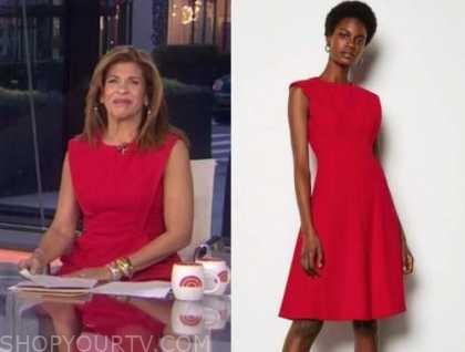 hoda kotb, the today show, red flare dress