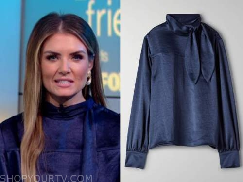 jillian mele, fox and friends, navy blue tie neck blouse