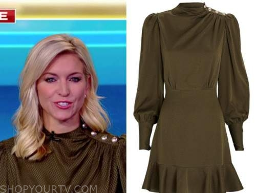 ainsley earhardt, fox and friends, green button silk dress