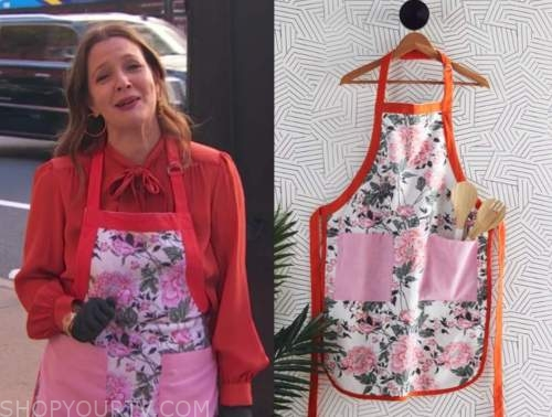 drew barrymore, drew barrymore show, floral apron