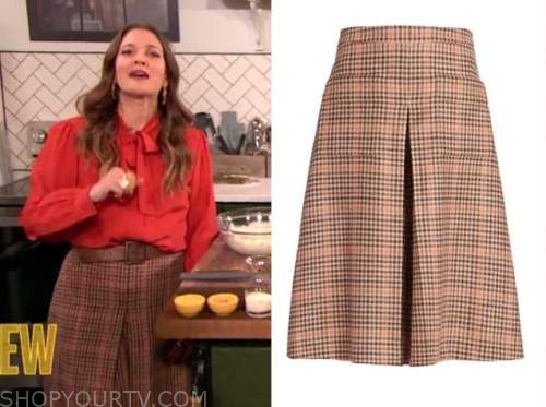 drew barrymore, drew barrymore show, plaid wool culottes skirt