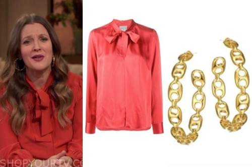 drew barrymore, drew barrymore show, red tie neck blouse, gold hoop earrings