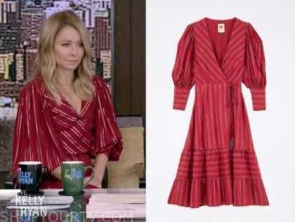 kelly ripa, live with kelly and ryan, red metallic stripe wrap midi dress