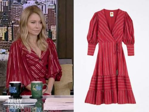 kelly ripa, live with kelly and ryan, red metallic stripe wrap midi dress