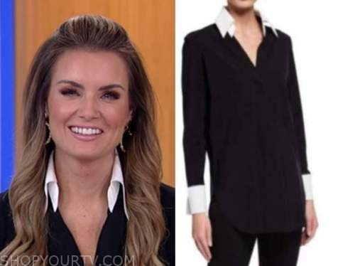 jillian mele, fox and friends, black and white contrast collar shirt