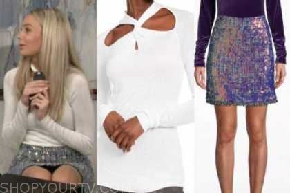 abby newman, melissa ordway, white twist sweater, metallic tweed skirt