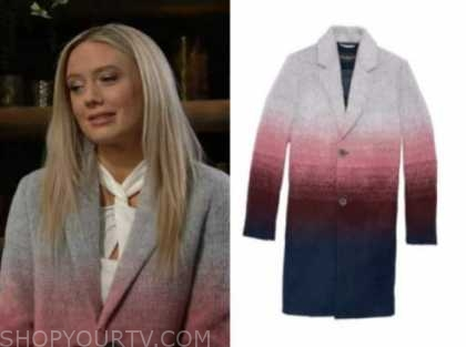 abby newman, melissa ordway, the young and the restless, ombre coat