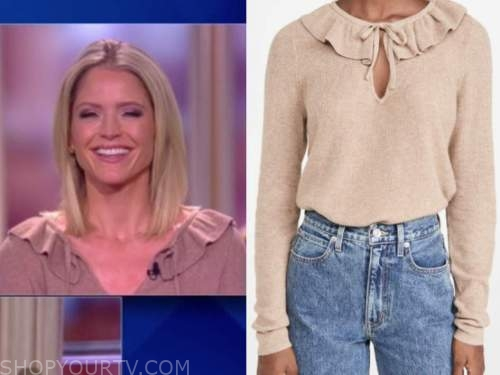 sara haines, the view, beige ruffle tie neck sweater