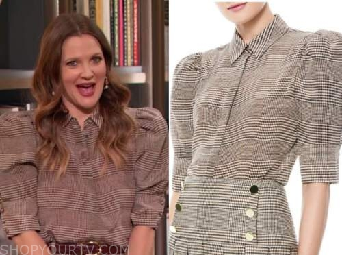 drew barrymore, drew barrymore show, plaid puff sleeve blouse