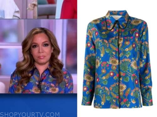 sunny hostin, the view, blue floral shirt