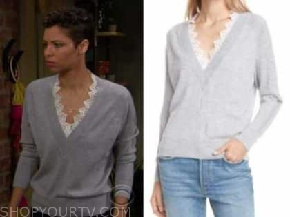 brytni sarpy, elena dawson, the young and the restless, grey lace v-neck sweater