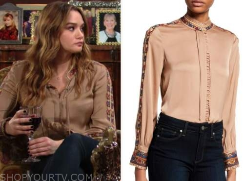 summer newman, hunter king, the young and the restless, embroidered silk blouse