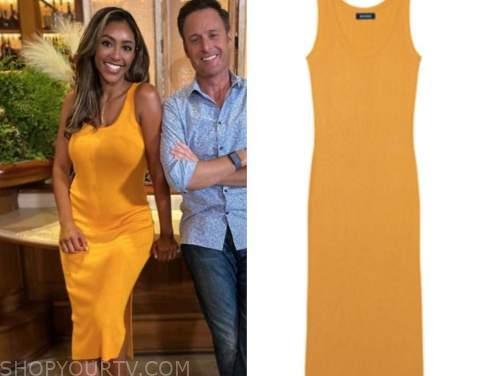 the bachelorette, orange yellow dress, tayshia adams