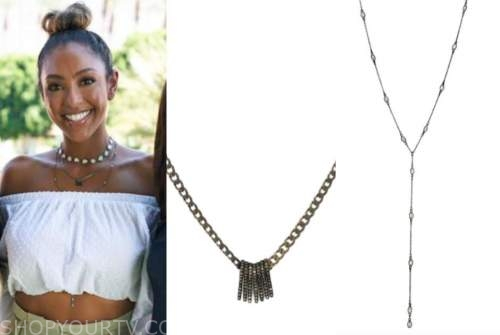 tayshia adams, diamond spike necklace, y-shape necklace