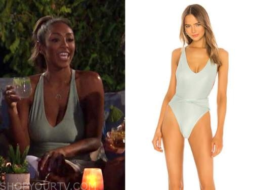 tayshia adams, the bachelorette, mint green one-piece swimsuit