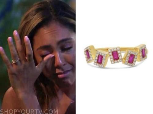 tayshia adams, the bachelorette, ruby and diamond ring
