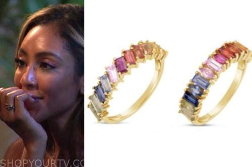 tayshia adams, the bachelorette, rainbow stacked rings