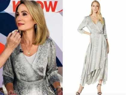 amy robach, silver snakeskin wrap dress, good morning america