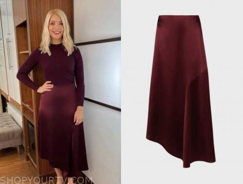 this morning, holly willoughby, red burgundy satin skirt