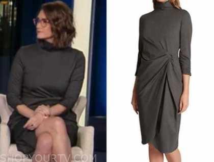 jessica tarlov, the five, grey mock neck drape dress