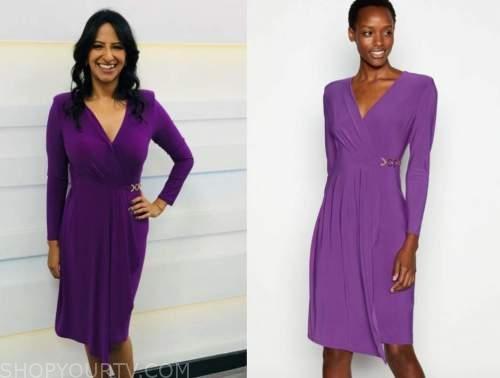 ranvir singh, good morning britain, purple wrap dress