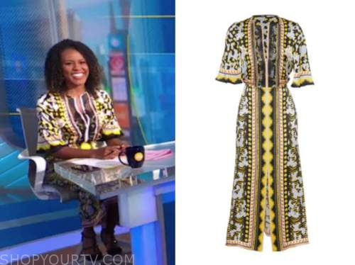 janai norman, yellow embroidered maxi dress, good morning america