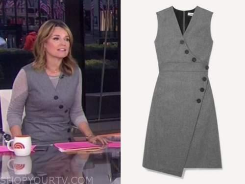 savannah guthrie, the today show, grey asymmetric button sheath dress