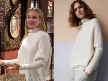 sharon newman, sharon case, white sweater, the young and the restless