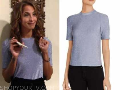 lily winters ashby, the young and the restless, christel khalil, purple metallic short sleeve top
